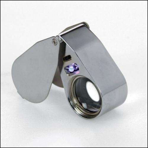 Präzisionslupe mit Beleuchtung, Metall - Juwelierlupe   40-fache Vergrößerung