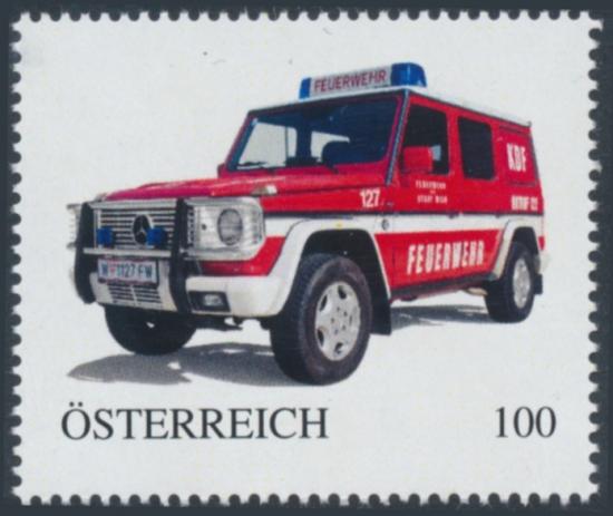 8138423 - PM - Personalisierte Marke - Auto - Feuerwehr Wien - Kommandofahrzeug - KDF Mercedes Benz W-1127FW - Postfrisch ** / DB / Kommissionsverkauf