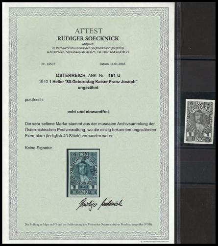1910 - Österreich - ANK 161 U. ungezähnt - 1 Heller - 80. Geburtstag Kaiser Franz Joseph - Fotoattest - Postfrisch ** / DB / Kommissionsverkauf