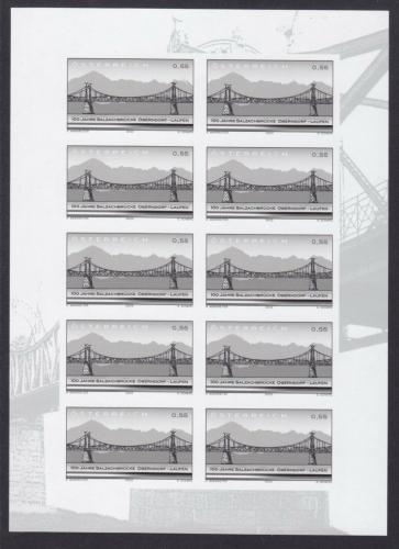 SD - Schwarzdruck - Kleinbogen - Block ANK Nr. N25 - ANK 2460 - 100 Jahre Salzachbrücke ungezähnt - Postfrisch **  / DB / Kommissionsverkauf
